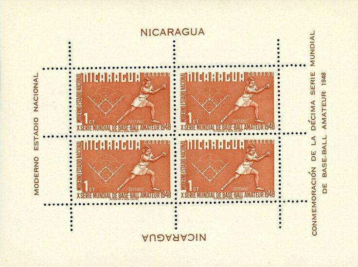 1949 Nicaragua – X Serie Mundial de Base-ball Amateur, Softball Souvenir Sheet – 1¢