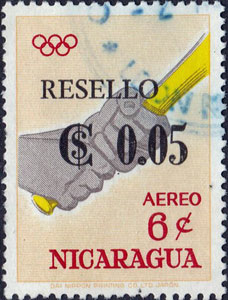 "1968 Nicaragua – Olympic Games in Tokyo, ""RESELLO"" Overlay"