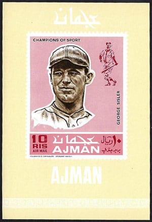 1969 Ajman – Baseball Champions Souvenir Sheet, George Sisler