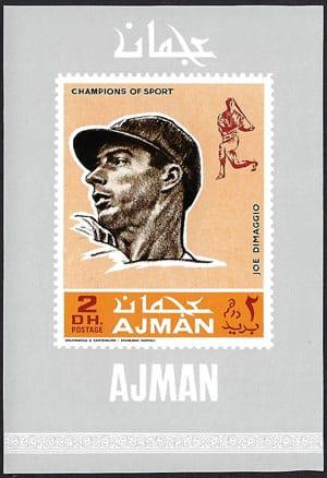 1969 Ajman – Baseball Champions Souvenir Sheet, Joe DiMaggio