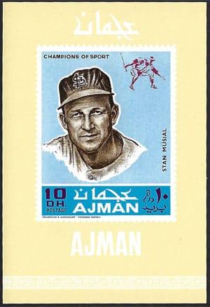 1969 Ajman – Baseball Champions Souvenir Sheet, Stan Musial