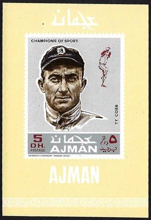 1969 Ajman – Baseball Champions Souvenir Sheet, Ty Cobb