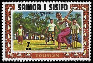 1971 Somoa I Sisifo – Tourism (Cricket scene, but with baseball bat!)