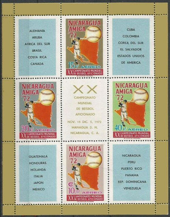 1973 Nicaragua – XX Campeonato Mundial de Beisbol Aficionado Souvenir Sheet