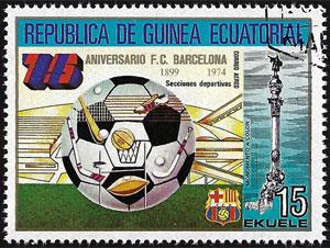1974 Equatorial Guinea – 75 Aniversario F.C. Barcelona (with baseball bat graphic)