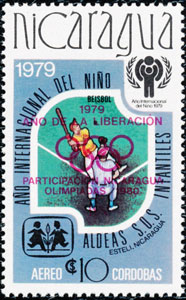 1980 Nicaragua – International Year of the Child (overprinted: Ano Liberacion - in red)