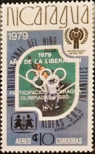 1980 Nicaragua – International Year of the Child (overprinted: Ano Liberacion - in silver)