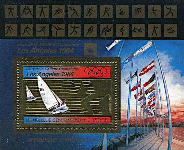 1982 Central African Republic – Sailing in Olympics, with Baseball Pictogram
