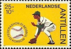1984 Netherlands – 50 Years Curacao Baseball Federation, 25 + 10¢