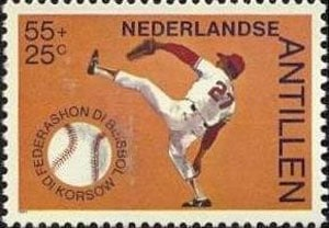1984 Netherlands – 50 Years Curacao Baseball Federation, 55 + 25¢