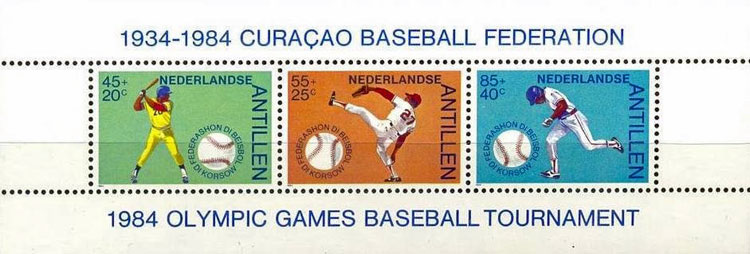 1984 Netherlands – 50 Years Curacao Baseball Federation Souvenir Sheet