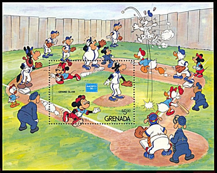 1986 Grenada – Walt Disney with Mickey Mouse Ballgame, Souvenir Sheet