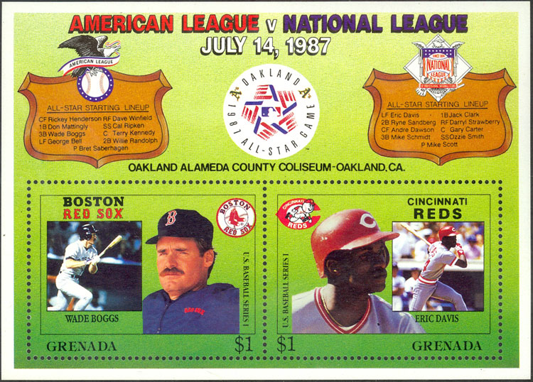 1987 Grenada – MLB All-Star Game, with Wade Boggs and Eric Davis