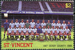 1987 St. Vincent – English Soccer Teams (with Welcome to Baseball Ground sign)