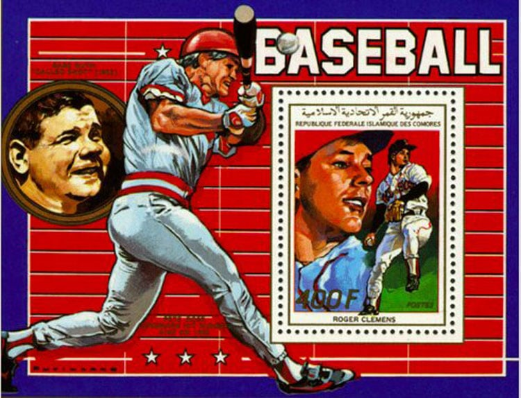 1988 Comoro Islands – Roger Clemens with Pete Rose and Babe Ruth
