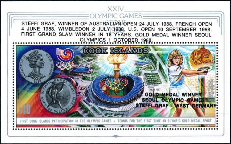1988 Cook Islands – XXIV Olympic Games Souvenir Sheet (Chamshil Baseball Stadium in upper right)
