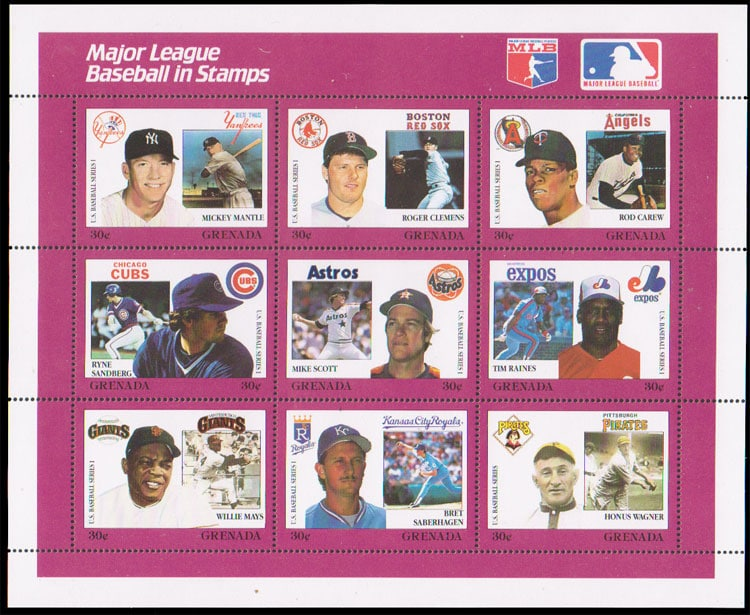 1988 Grenada – MLB in Stamps (1664a-1664i)