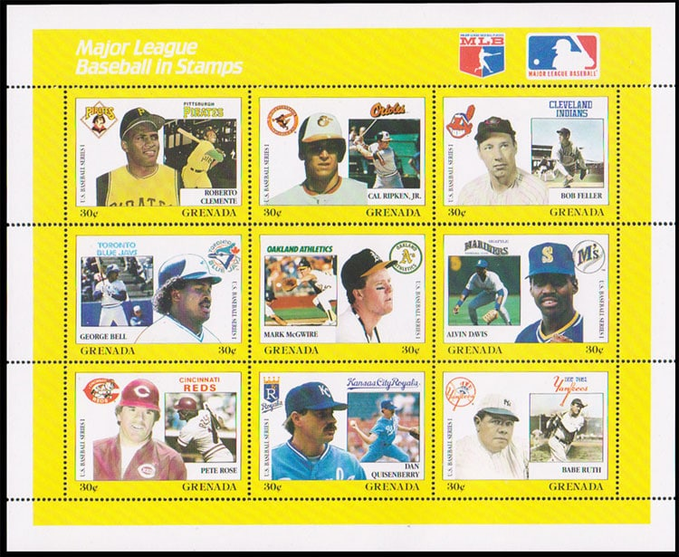 1988 Grenada – MLB in Stamps (1665a-1665i)