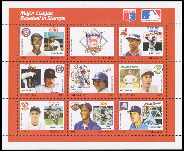 1988 Grenada – MLB in Stamps (1667a-1667i)