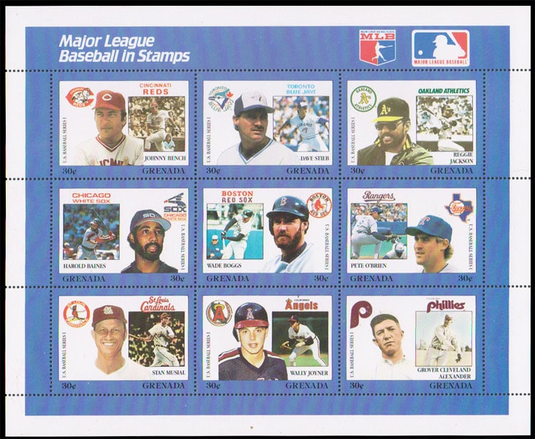 1988 Grenada – MLB in Stamps (1668a-1668i)