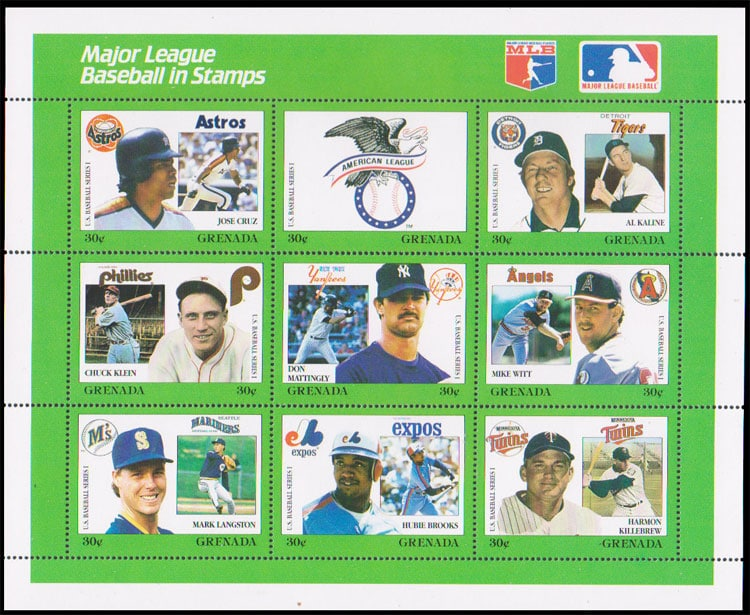 1988 Grenada – MLB in Stamps (1669a-1669i)