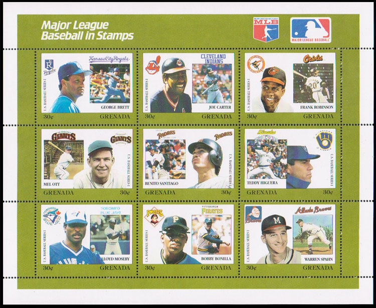 1988 Grenada – MLB in Stamps (1670a-1670i)
