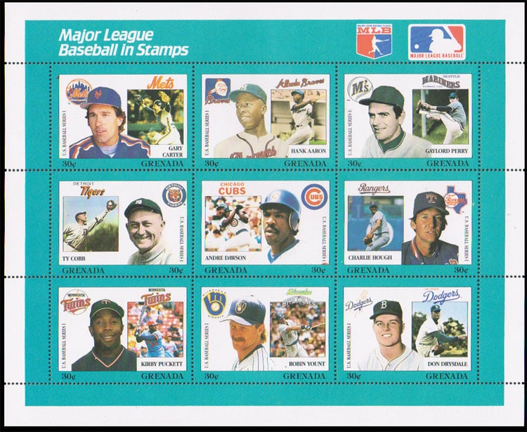 1988 Grenada – MLB in Stamps (1671a-1671i)