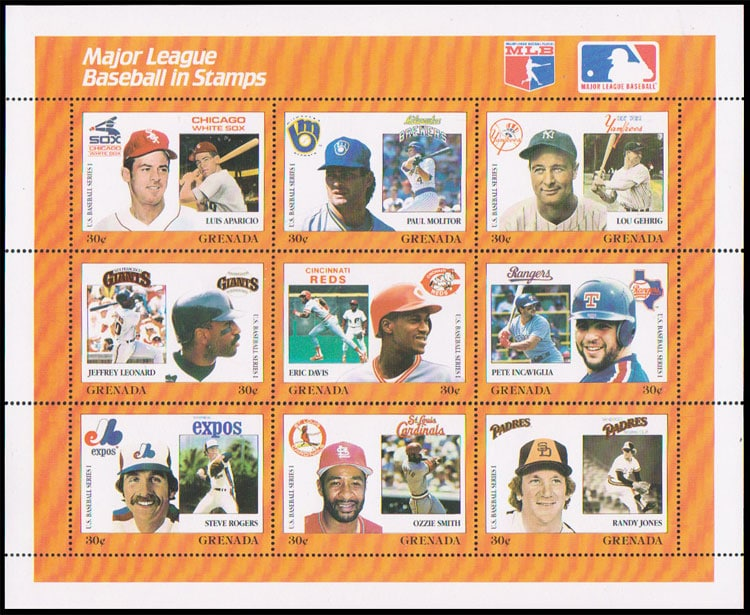1988 Grenada – MLB in Stamps (1672a-1672i)