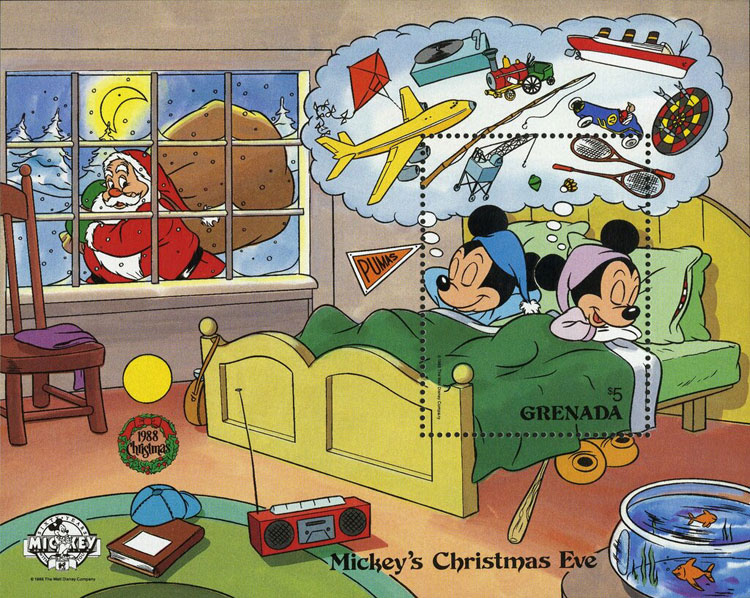 1988 Grenada – Mickey's Christmas Eve (baseball bat under bed)