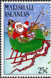 1988 Marshall Islands – Christmas (with baseball bat in Santa's sleigh)