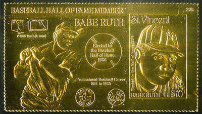 1988 St. Vincent – Babe Ruth on Gold Foil