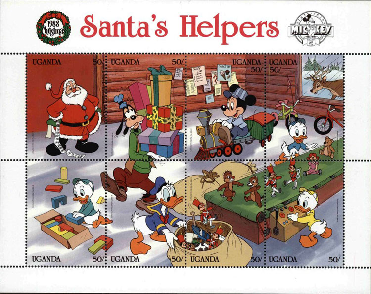 1988 Uganda – Santa's Helpers, Donald Duck Souvenir Sheet (baseball bat in bag)