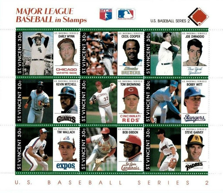 1989 St. Vincent – Major League Baseball in Stamps (Red)