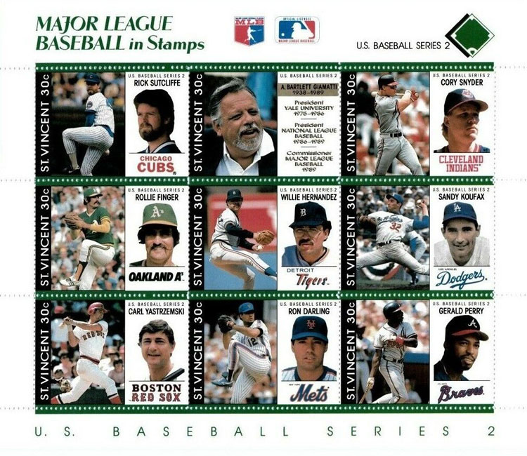 1989 St. Vincent – Major League Baseball in Stamps (Green)
