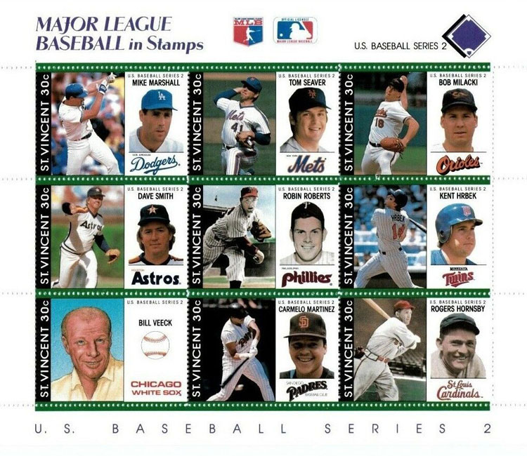 1989 St. Vincent – Major League Baseball in Stamps (Purple)