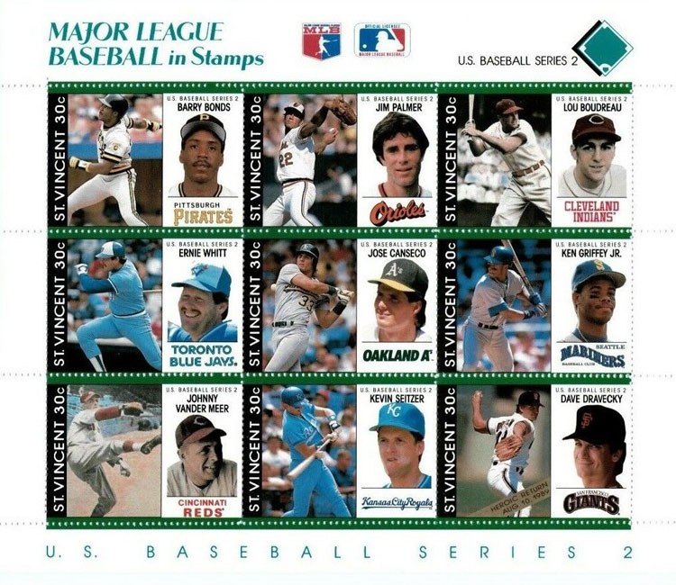 1989 St. Vincent – Major League Baseball in Stamps (Teal)
