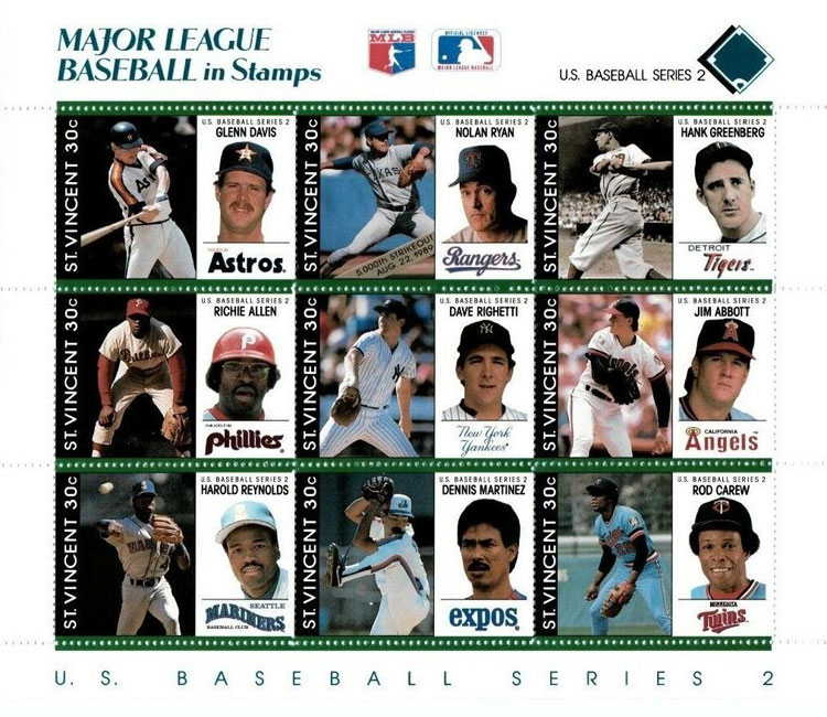 1989 St. Vincent – Major League Baseball in Stamps (Blue/Green)