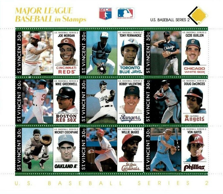 1989 St. Vincent – Major League Baseball in Stamps (Yellow)