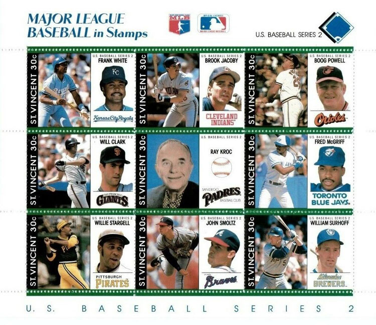 1989 St. Vincent – Major League Baseball in Stamps (Royal Blue)
