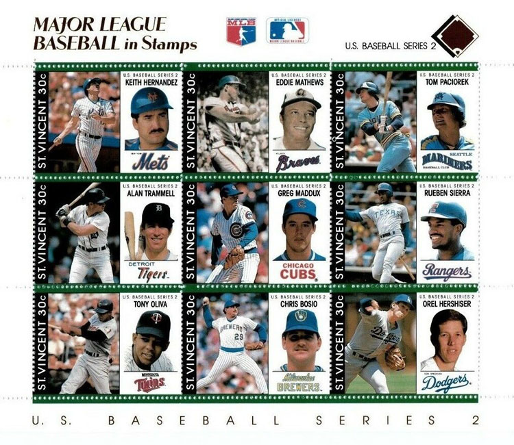 1989 St. Vincent – Major League Baseball in Stamps (Brown)