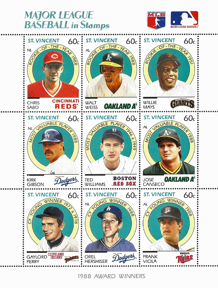 1989 St. Vincent – Major League Baseball in Stamps