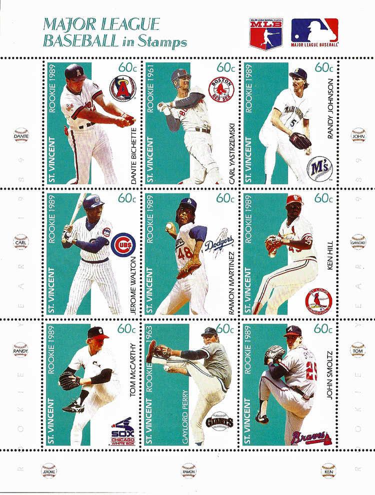 1989 St. Vincent – Major League Baseball in Stamps (Rookies 1)