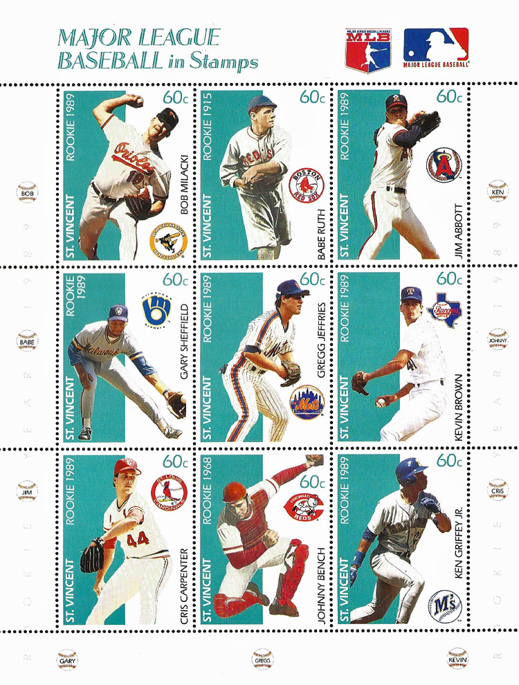 1989 St. Vincent – Major League Baseball in Stamps (Rookies 2)