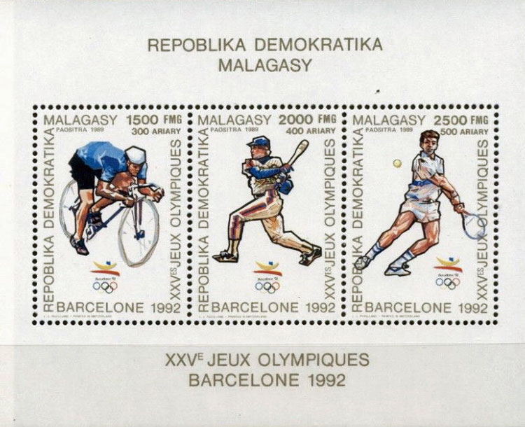 1990 Malagasy – Olympic Games in Barcelona Souvenir Sheet with Cycling, Baseball and Tennis