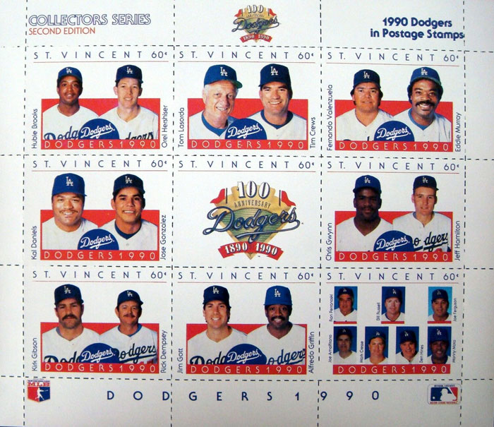 1990 St. Vincent – Los Angeles Dodgers 100th Anniversary, Sheet 1