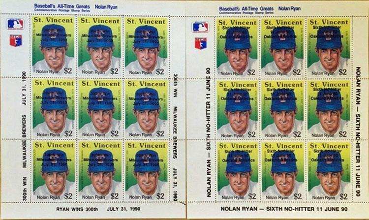 1990 St. Vincent – Nolan Ryan Sheets: 300 Wins & Sixth No Hitter