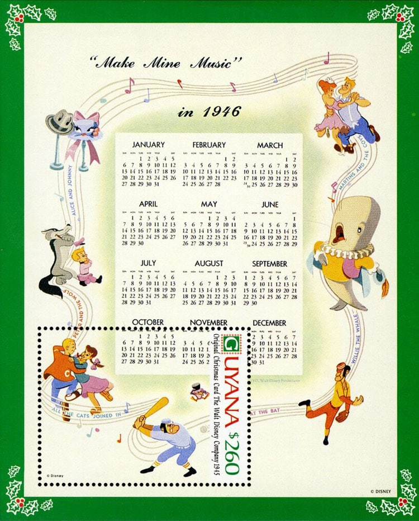 1991 Guyana – Walt Disney Christmas Card in 1946