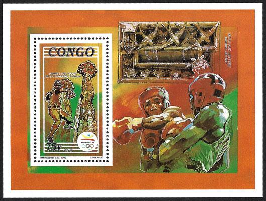 1992 Congo – Olympics in Barcelona, Boxing and Baseball Souvenir Sheet