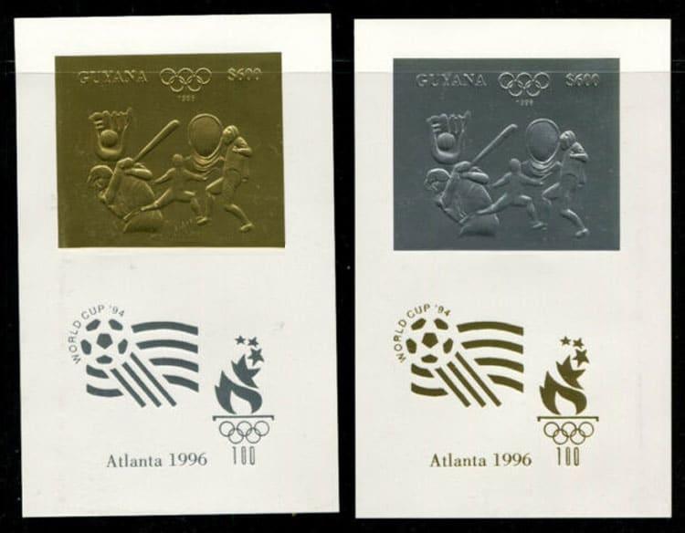 1993 Guyana – Olympics in Atlanta featuring Baseball, gold and silver