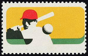 1969 Baseball Stamp – 100th Anniversary of Professional Baseball, Black Plate Omitted Error